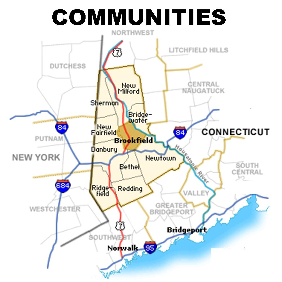 Greater Danbury Connecticut Map